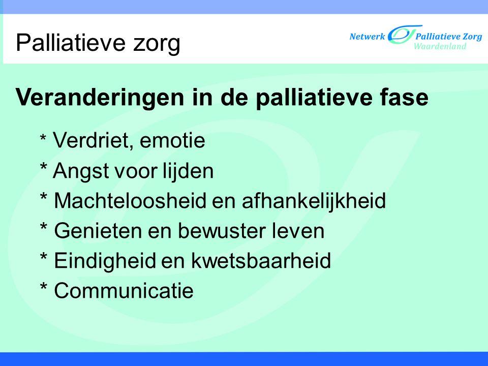 Veranderingen in de palliatieve fase