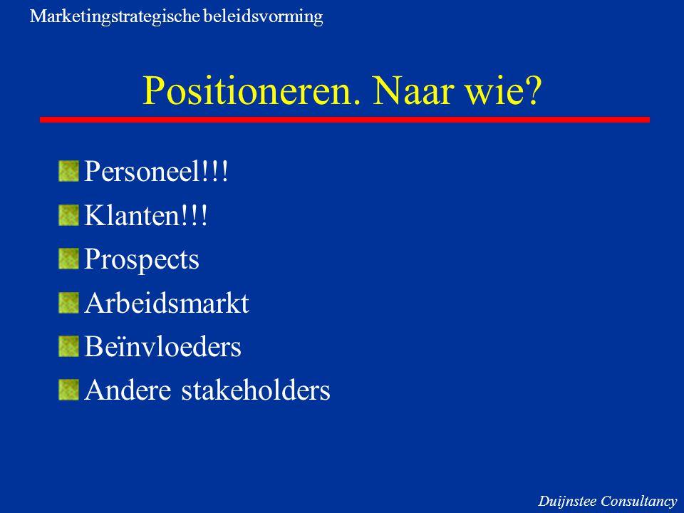 Positioneren. Naar wie Personeel!!! Klanten!!! Prospects Arbeidsmarkt