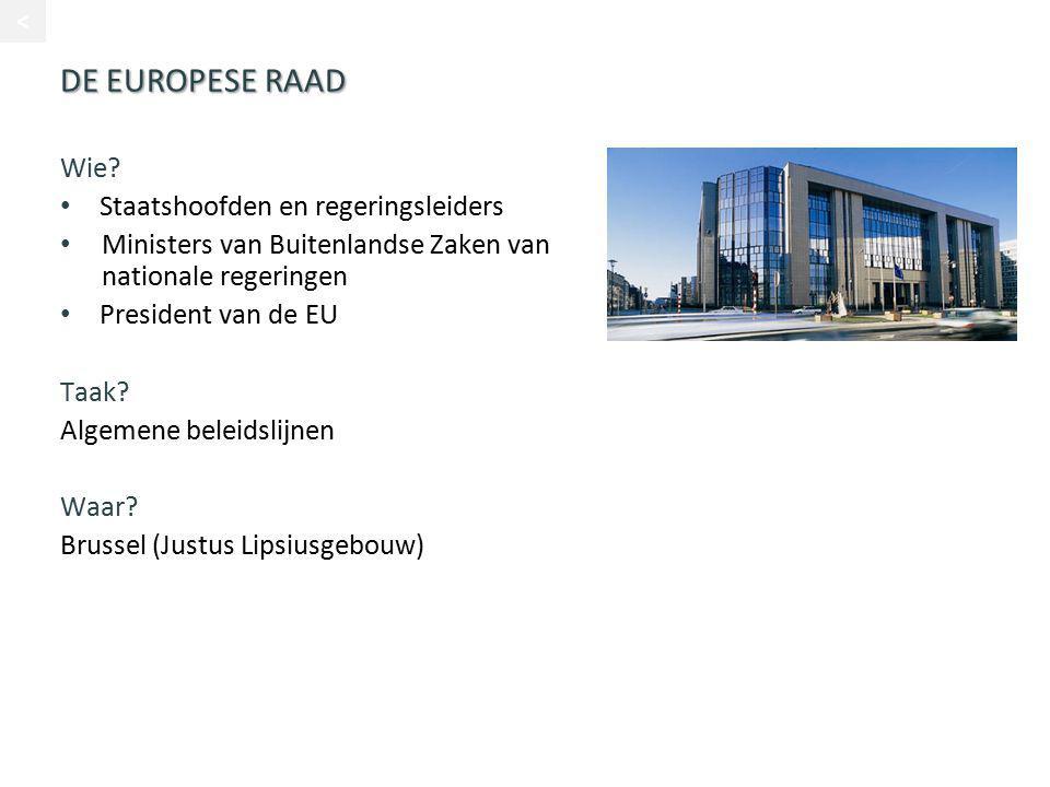 DE EUROPESE RAAD Wie Staatshoofden en regeringsleiders