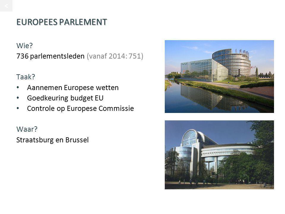 EUROPEES PARLEMENT Wie 736 parlementsleden (vanaf 2014: 751) Taak