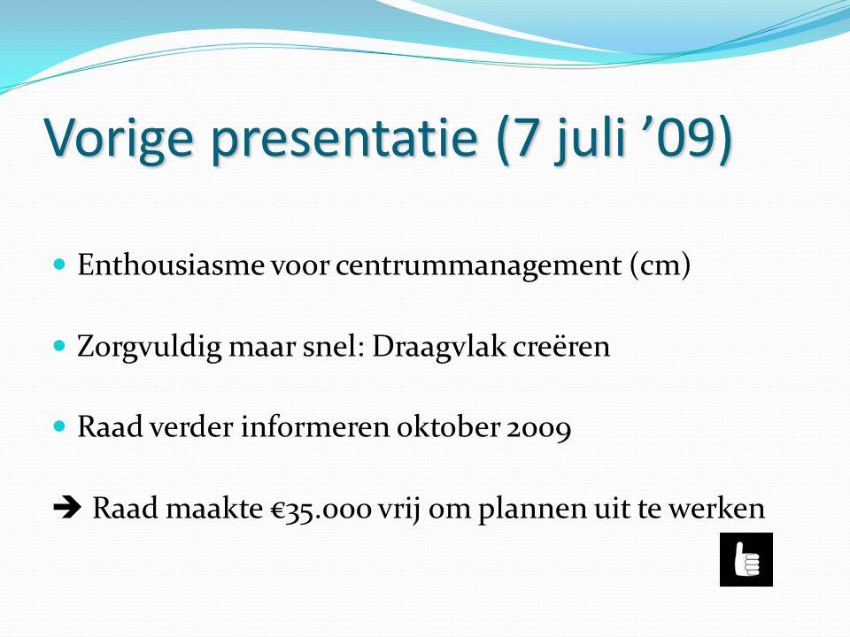 Vorige presentatie (7 juli '09)