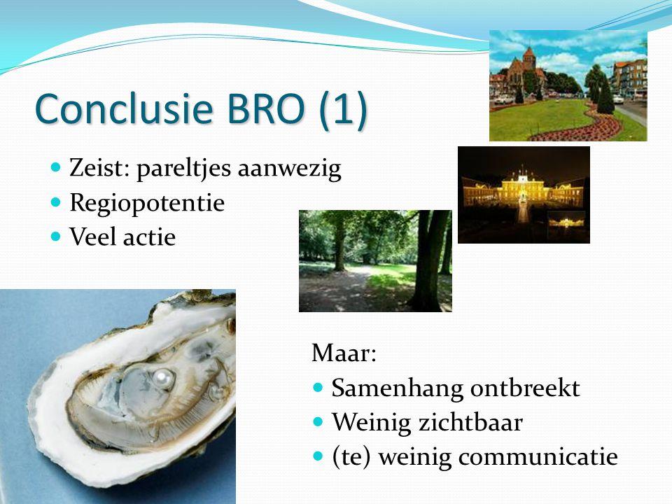 Conclusie BRO (1) Zeist: pareltjes aanwezig Regiopotentie Veel actie
