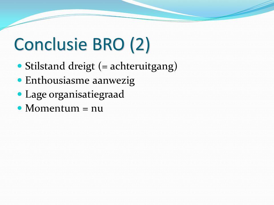Conclusie BRO (2) Stilstand dreigt (= achteruitgang)