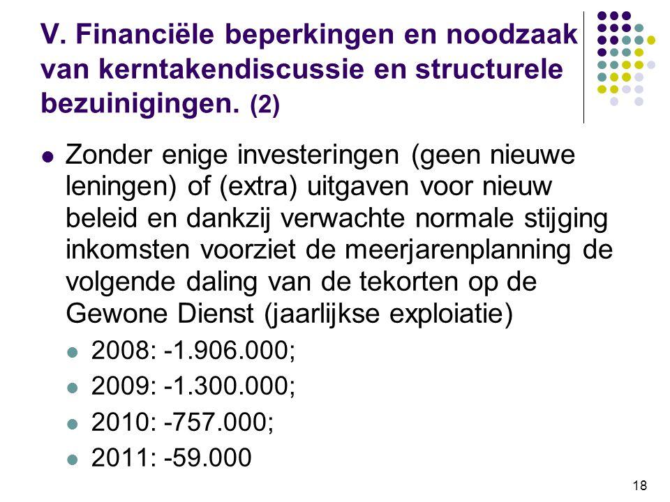 V. Financiële beperkingen en noodzaak van kerntakendiscussie en structurele bezuinigingen. (2)