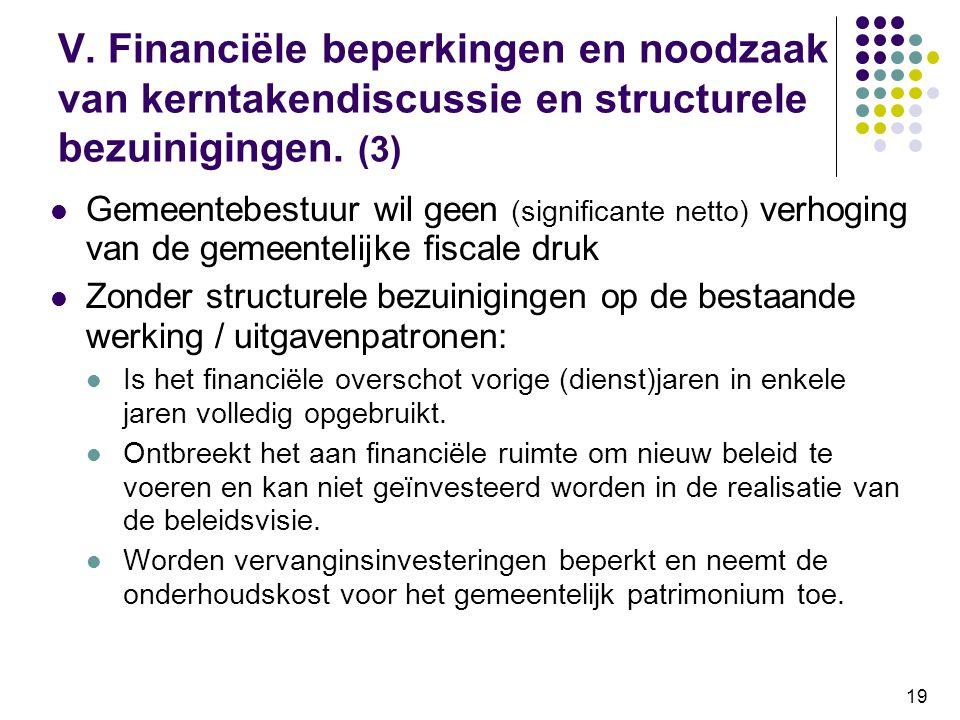 V. Financiële beperkingen en noodzaak van kerntakendiscussie en structurele bezuinigingen. (3)
