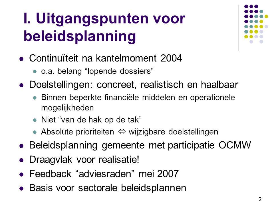 I. Uitgangspunten voor beleidsplanning