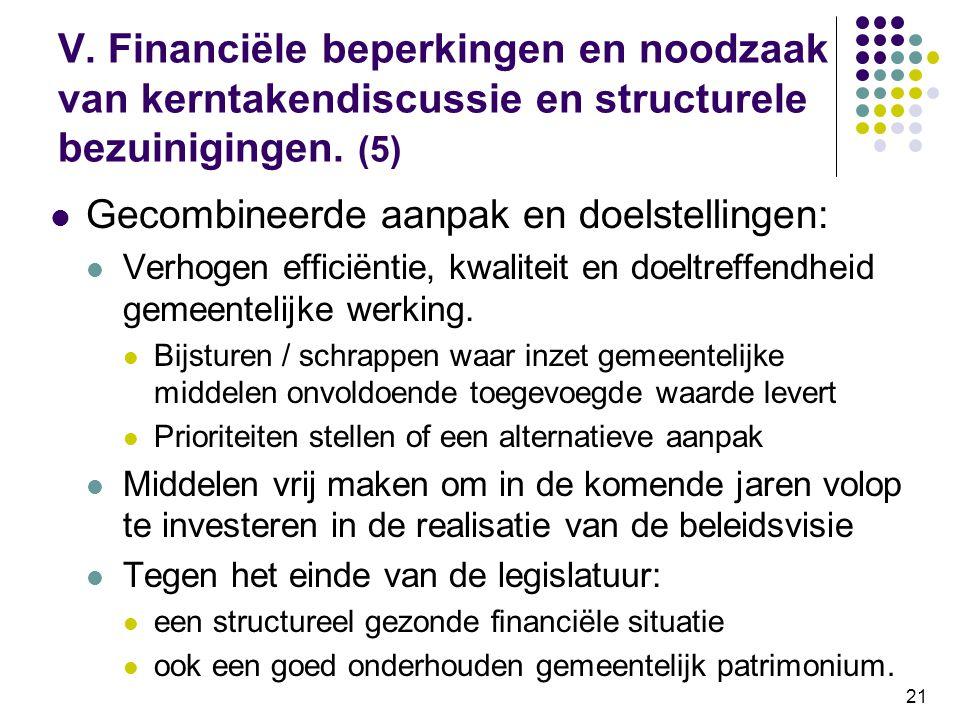 V. Financiële beperkingen en noodzaak van kerntakendiscussie en structurele bezuinigingen. (5)