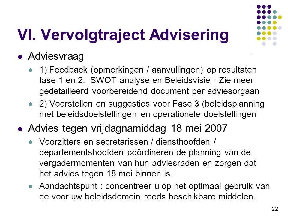 VI. Vervolgtraject Advisering