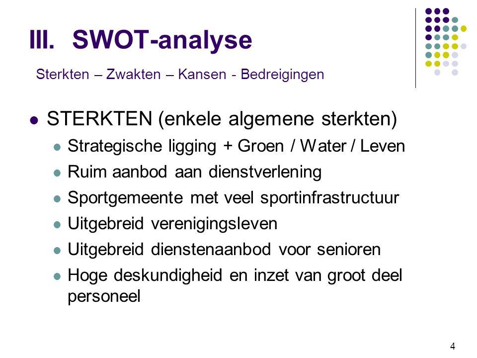 III. SWOT-analyse Sterkten – Zwakten – Kansen - Bedreigingen