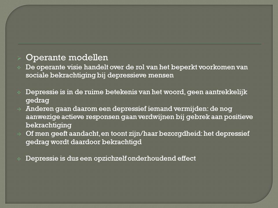 Operante modellen De operante visie handelt over de rol van het beperkt voorkomen van sociale bekrachtiging bij depressieve mensen.