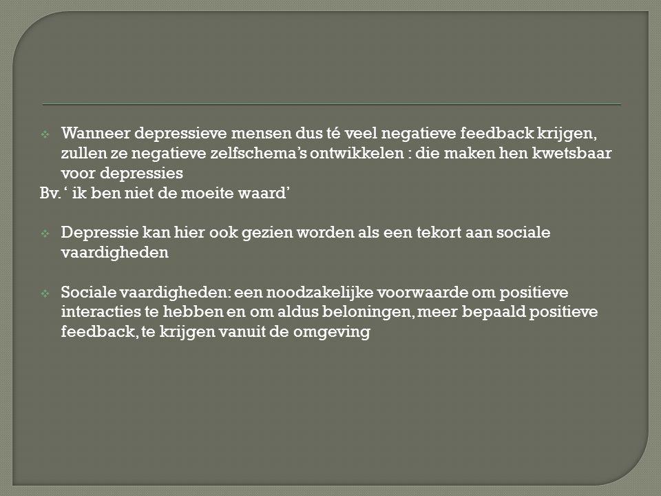 Wanneer depressieve mensen dus té veel negatieve feedback krijgen, zullen ze negatieve zelfschema's ontwikkelen : die maken hen kwetsbaar voor depressies