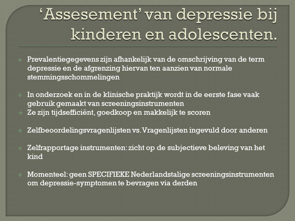 'Assesement' van depressie bij kinderen en adolescenten.