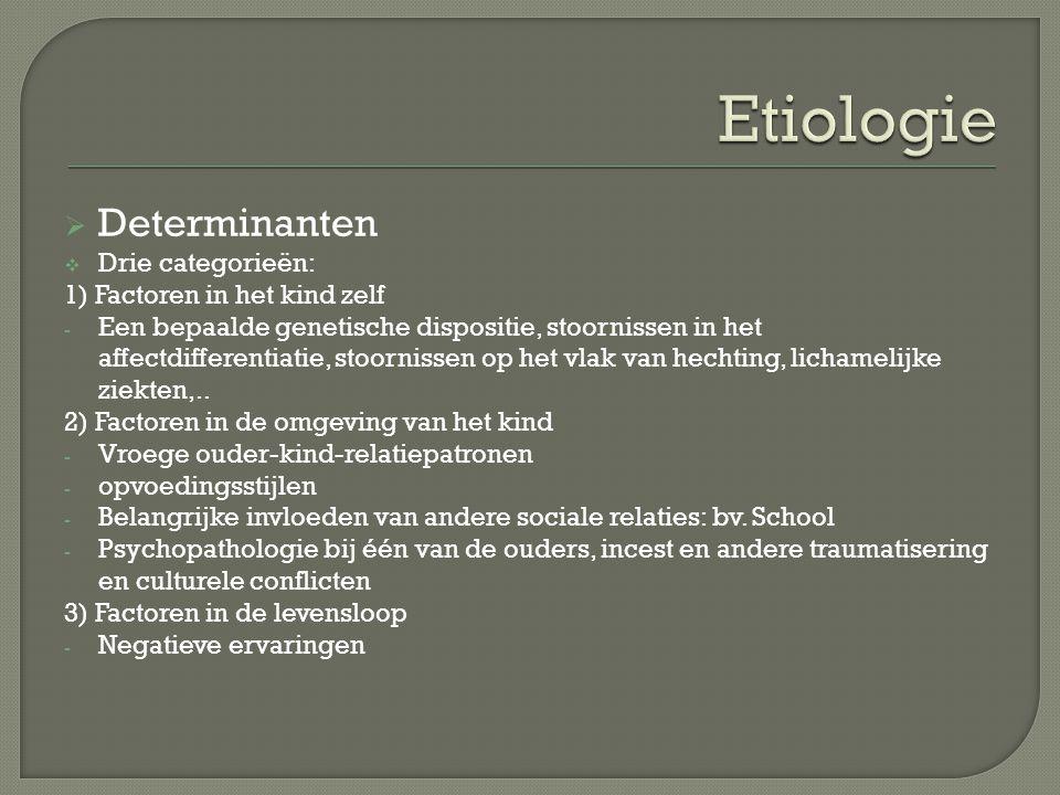 Etiologie Determinanten Drie categorieën: 1) Factoren in het kind zelf