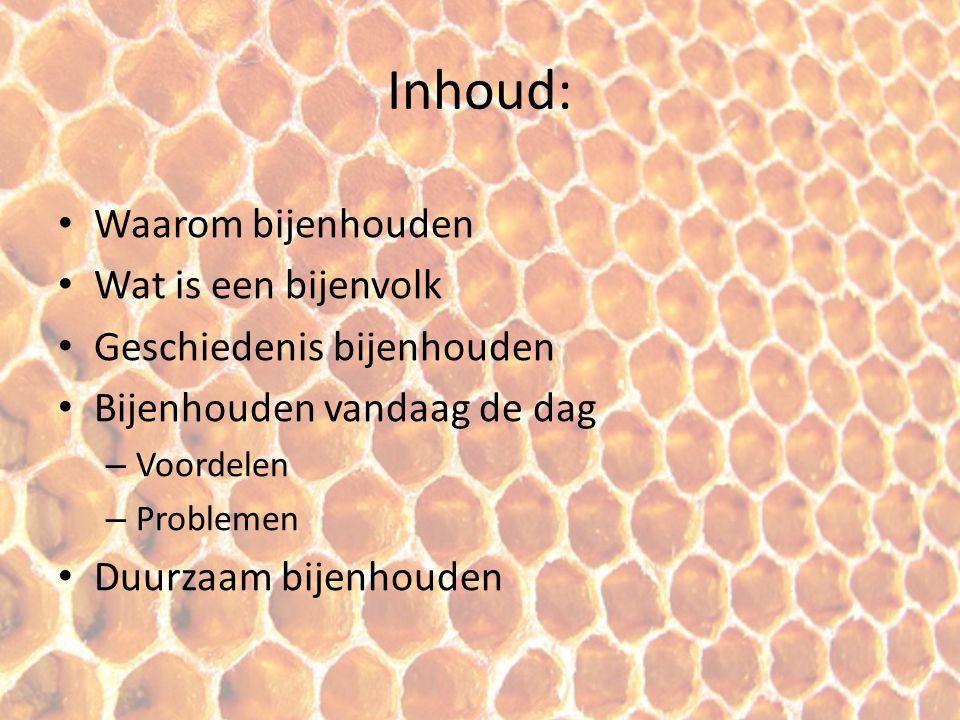 Inhoud: Waarom bijenhouden Wat is een bijenvolk
