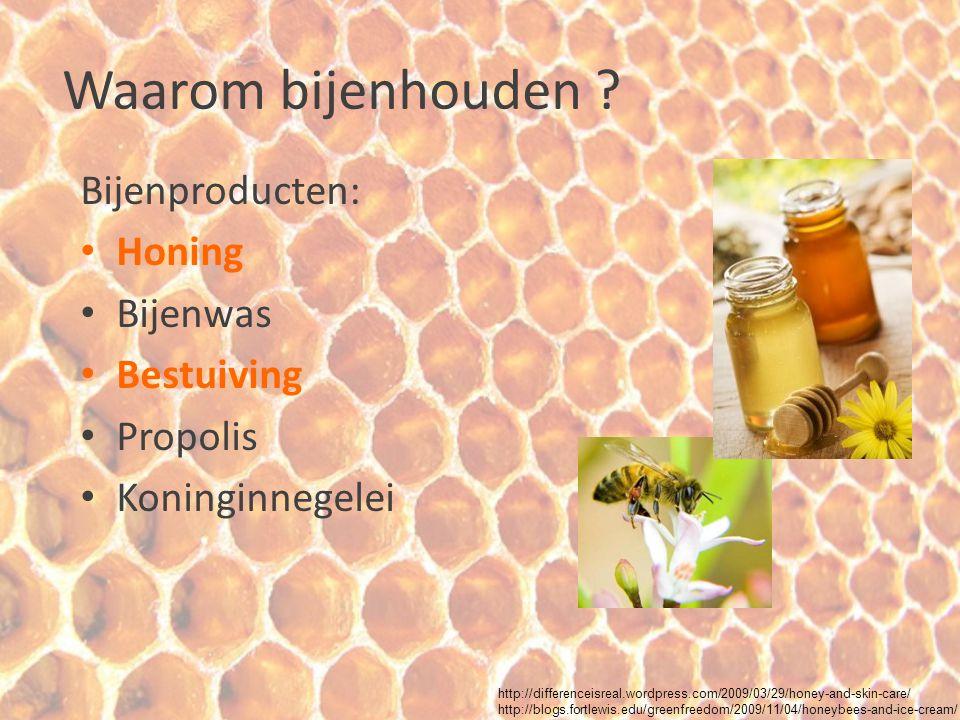 Waarom bijenhouden Bijenproducten: Honing Bijenwas Bestuiving