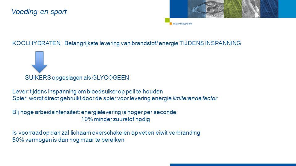 Voeding en sport KOOLHYDRATEN : Belangrijkste levering van brandstof/ energie TIJDENS INSPANNING. SUIKERS opgeslagen als GLYCOGEEN.