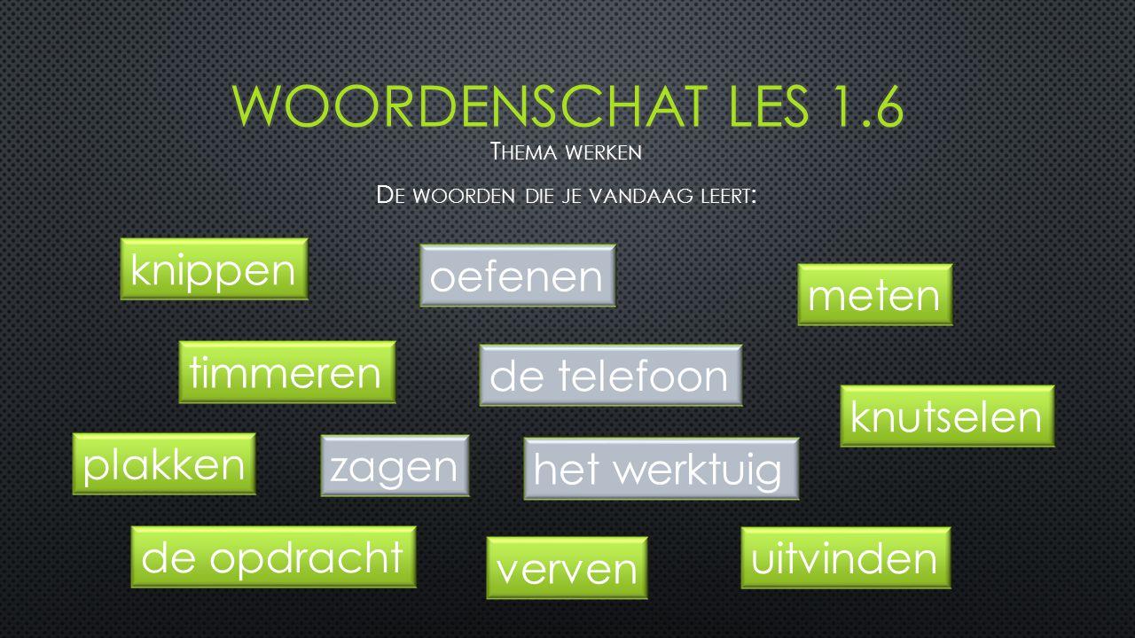 Thema werken De woorden die je vandaag leert: