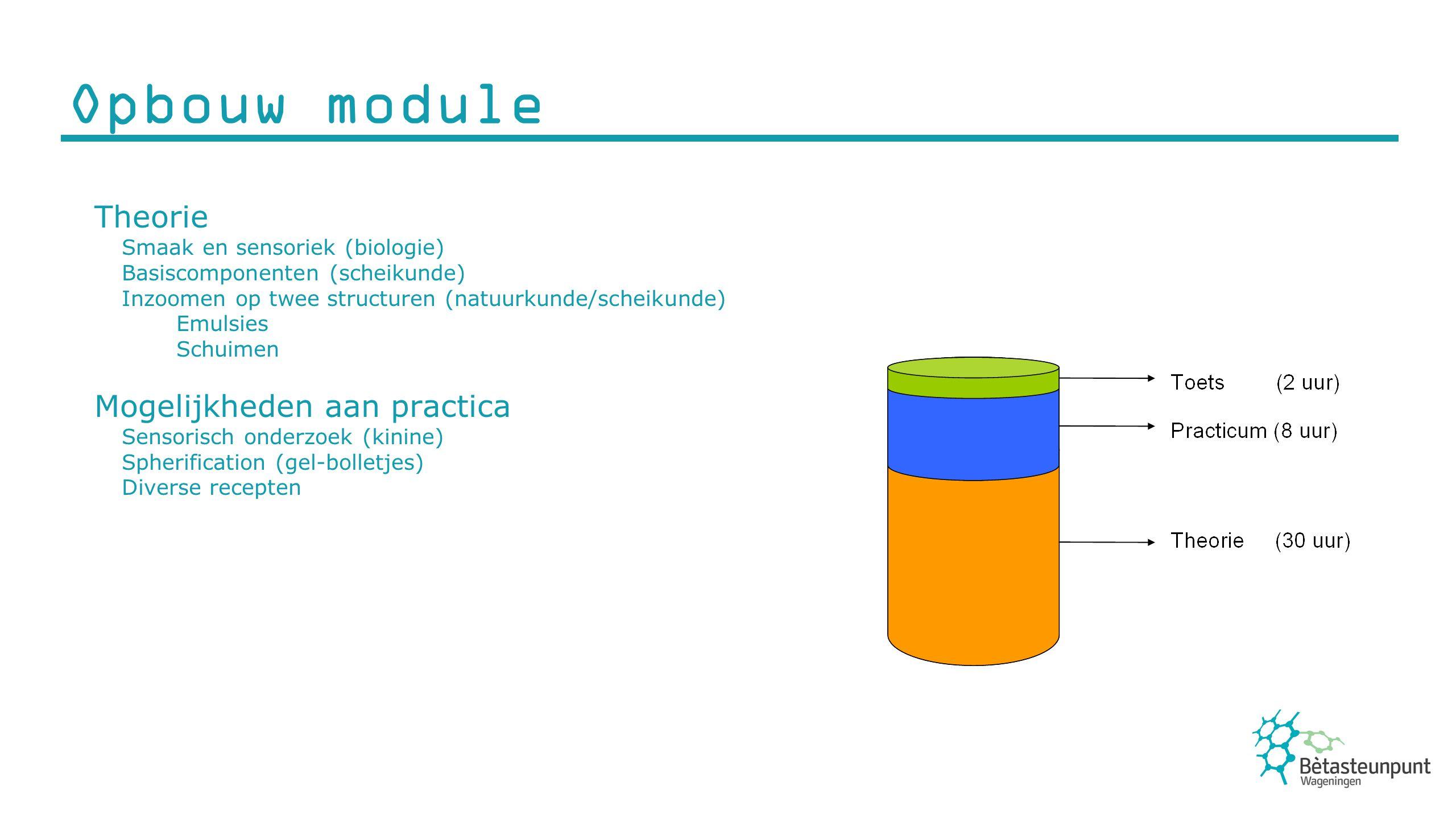 Opbouw module Theorie Mogelijkheden aan practica