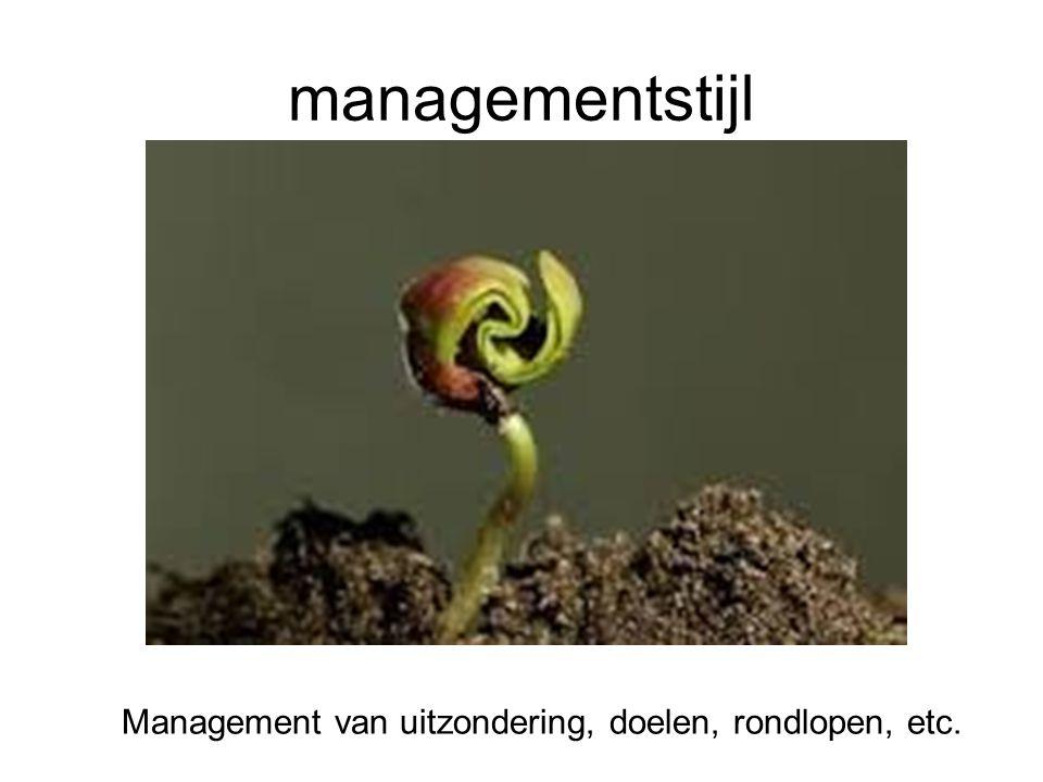 managementstijl Management van uitzondering, doelen, rondlopen, etc.