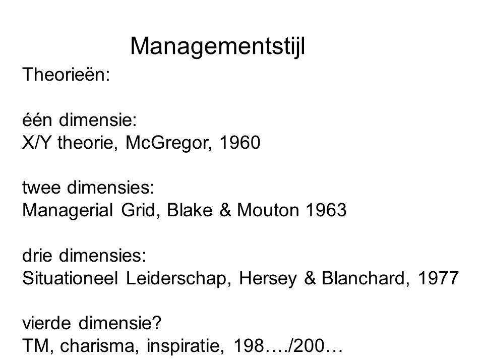 Managementstijl Theorieën: één dimensie: X/Y theorie, McGregor, 1960