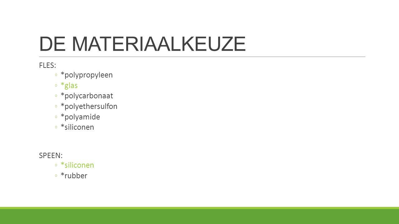 DE MATERIAALKEUZE FLES: *polypropyleen *glas *polycarbonaat