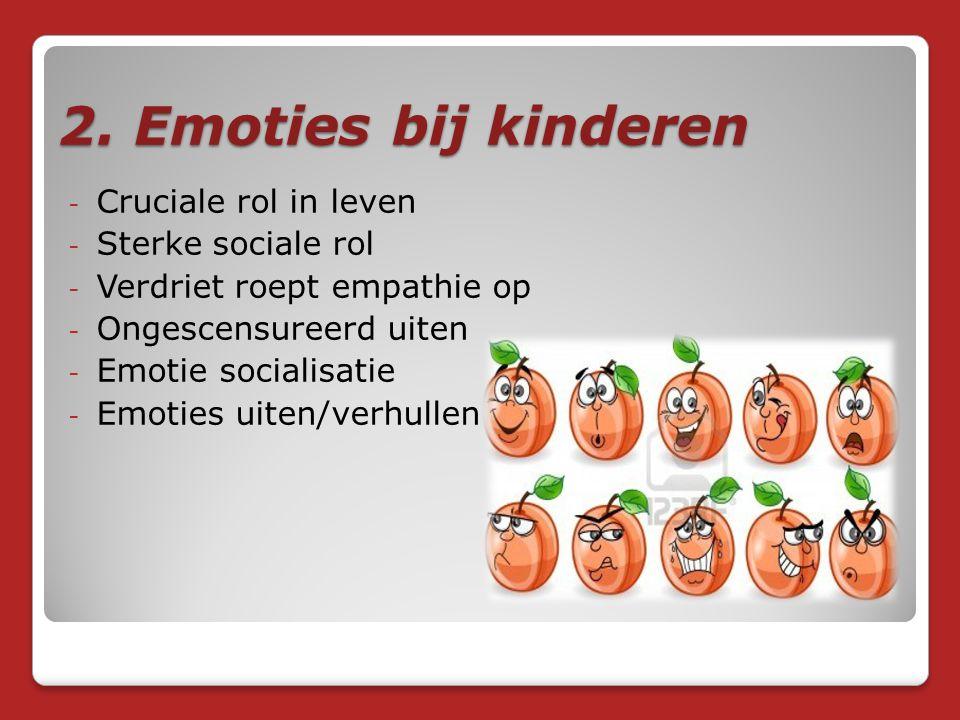 2. Emoties bij kinderen Cruciale rol in leven Sterke sociale rol