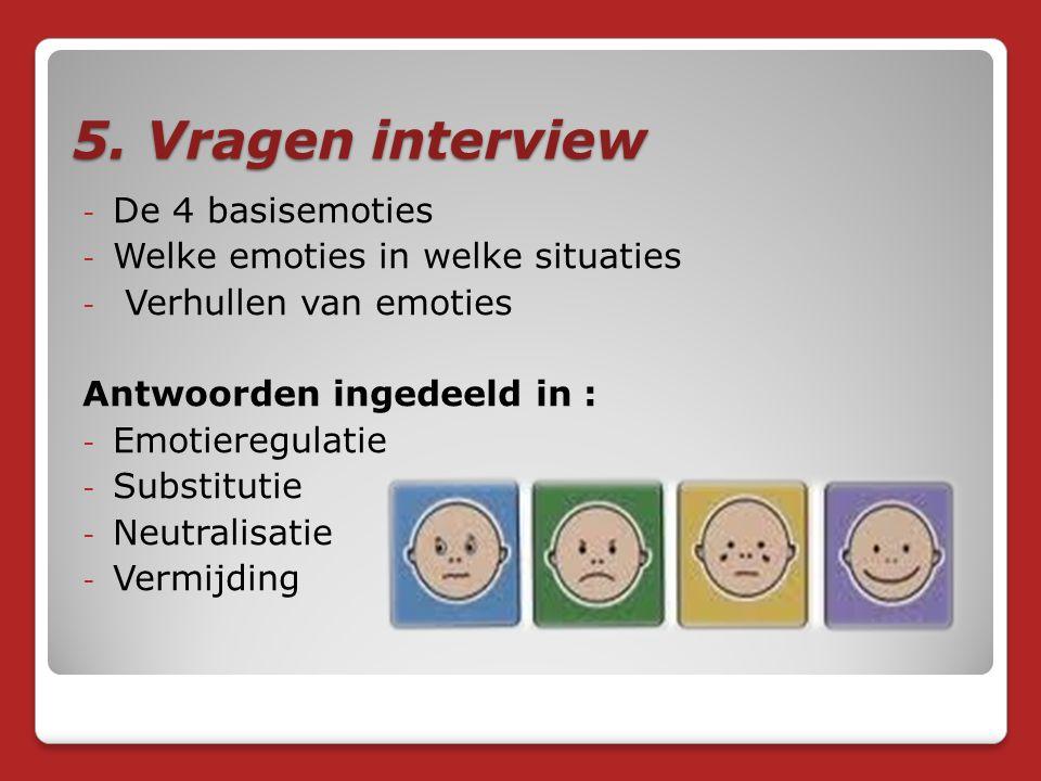 5. Vragen interview De 4 basisemoties Welke emoties in welke situaties