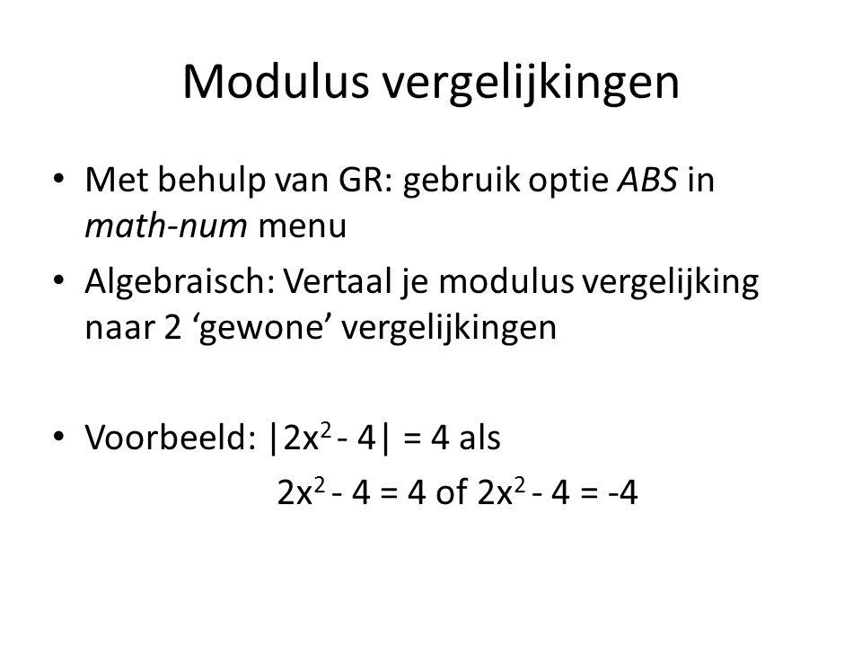 Modulus vergelijkingen