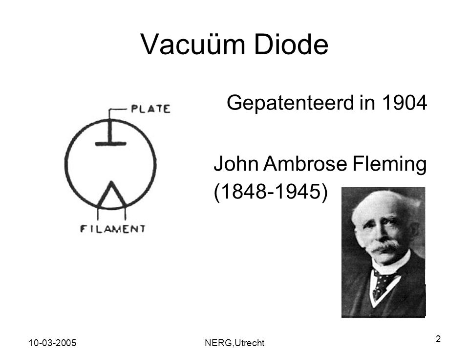 Vacuüm Diode Gepatenteerd in 1904 John Ambrose Fleming (1848-1945)