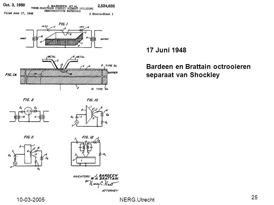 Bardeen en Brattain octrooieren separaat van Shockley