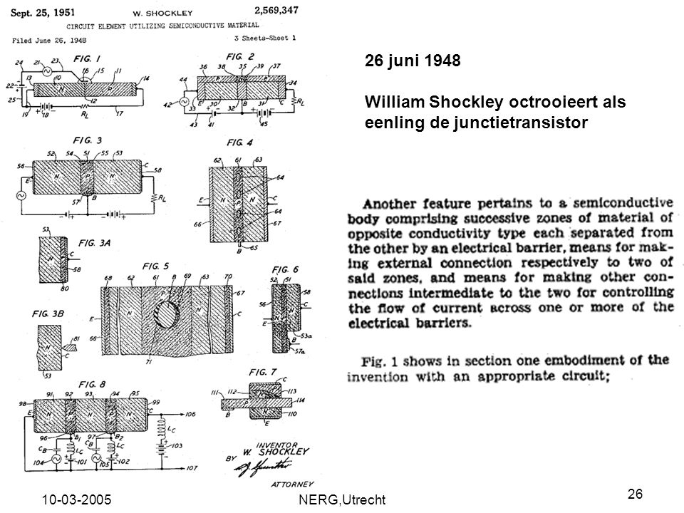 William Shockley octrooieert als eenling de junctietransistor