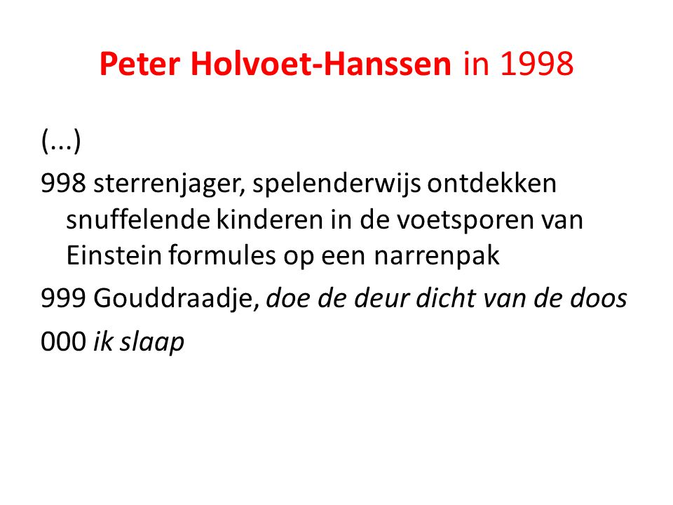 Peter Holvoet-Hanssen in 1998
