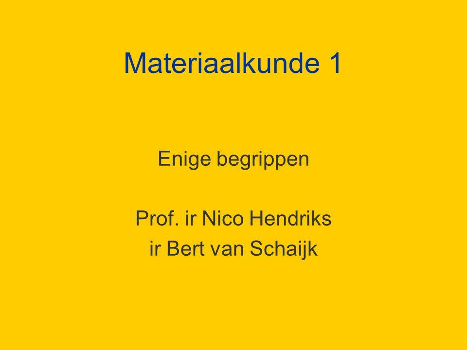Materiaalkunde 1 Enige begrippen Prof. ir Nico Hendriks