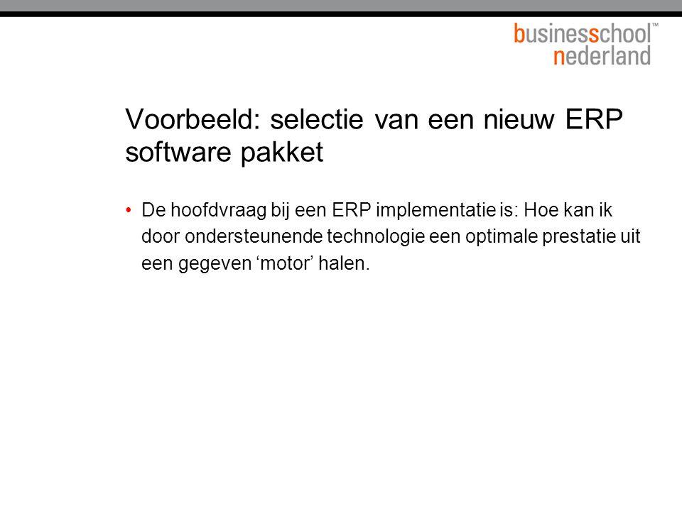 Voorbeeld: selectie van een nieuw ERP software pakket