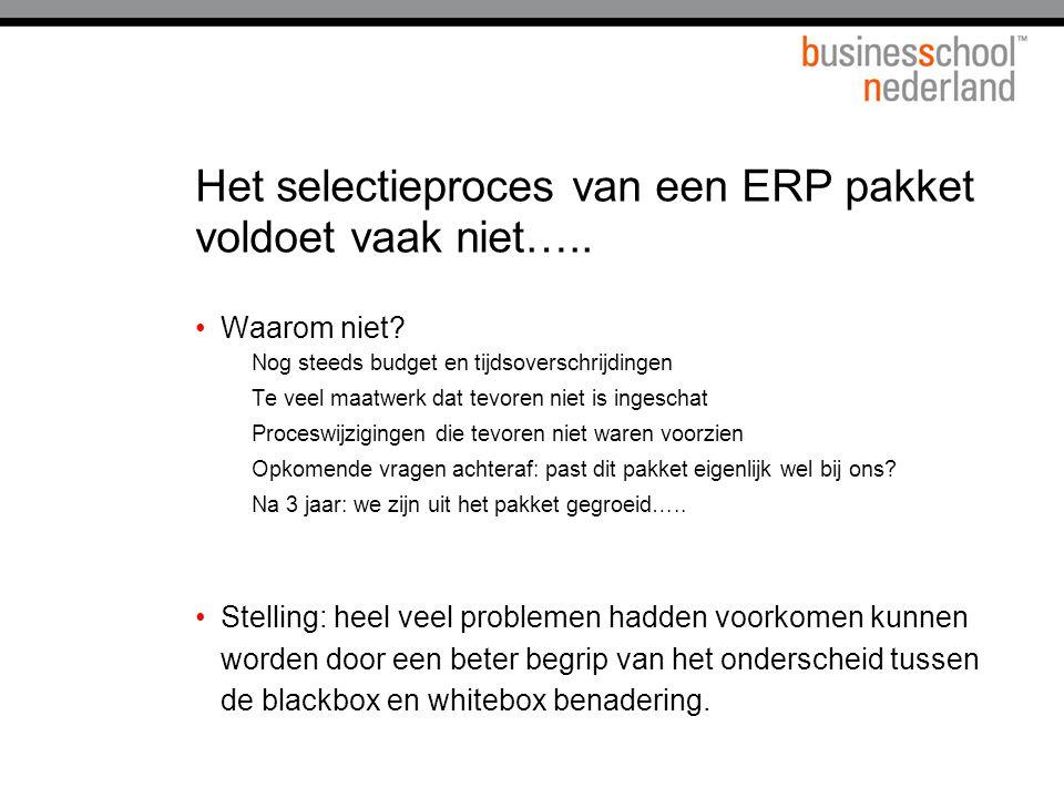 Het selectieproces van een ERP pakket voldoet vaak niet…..