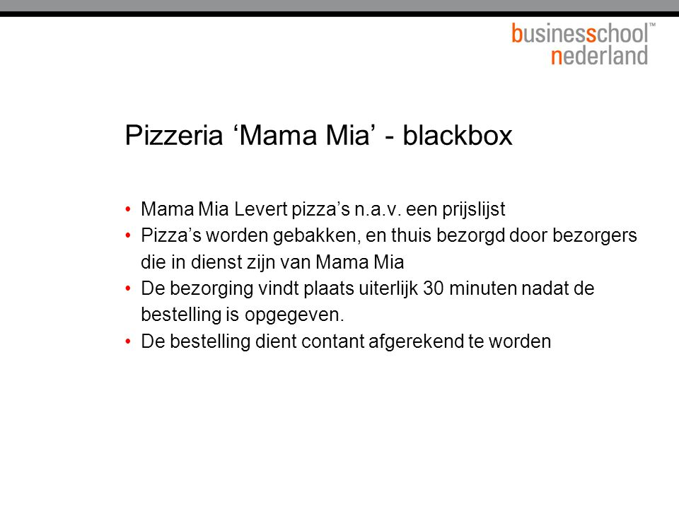 Pizzeria 'Mama Mia' - blackbox