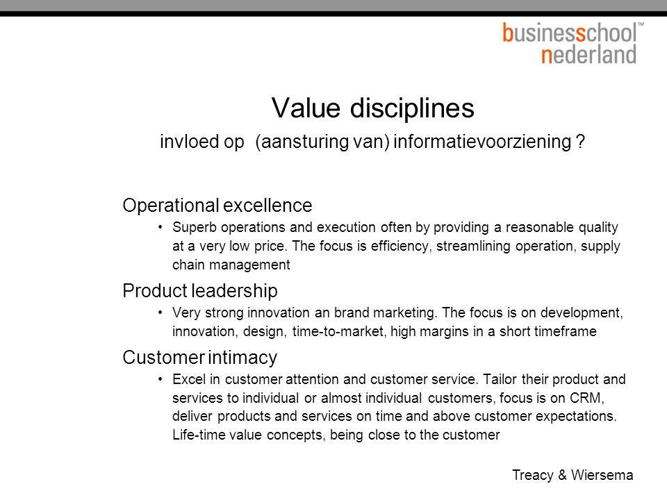 Value disciplines invloed op (aansturing van) informatievoorziening