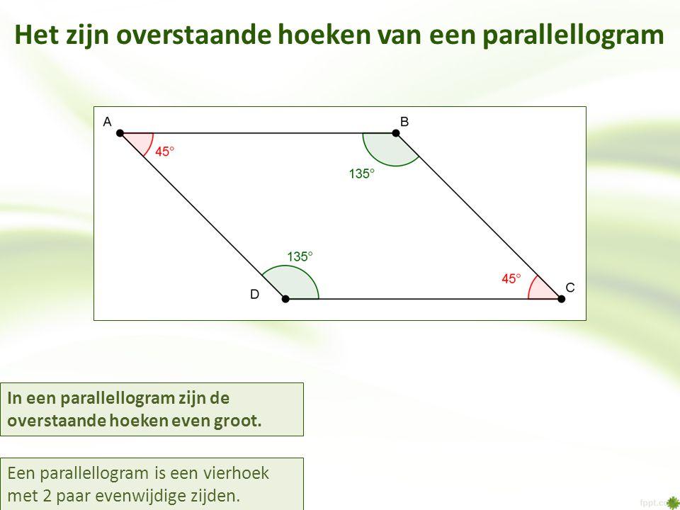 Het zijn overstaande hoeken van een parallellogram