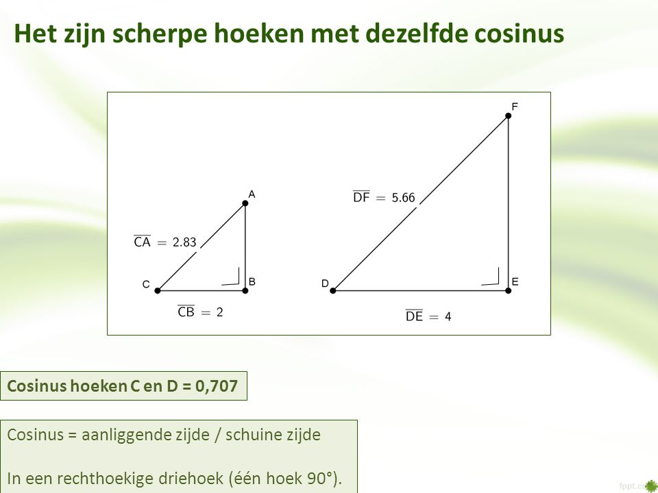 Het zijn scherpe hoeken met dezelfde cosinus