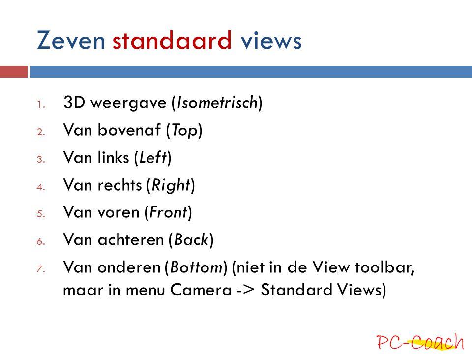 Zeven standaard views 3D weergave (Isometrisch) Van bovenaf (Top)