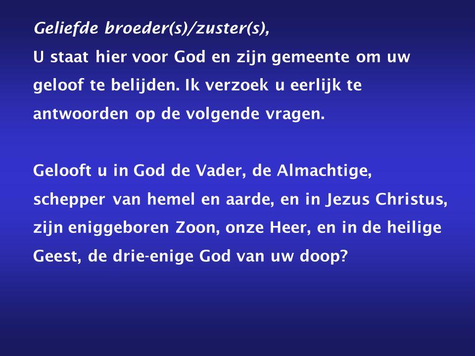Geliefde broeder(s)/zuster(s), U staat hier voor God en zijn gemeente om uw geloof te belijden.