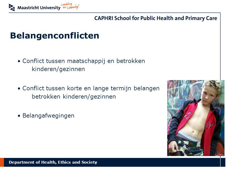 Belangenconflicten Conflict tussen maatschappij en betrokken kinderen/gezinnen.