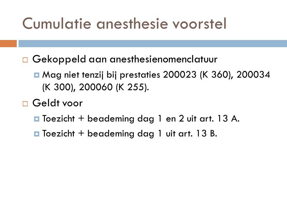 Cumulatie anesthesie voorstel