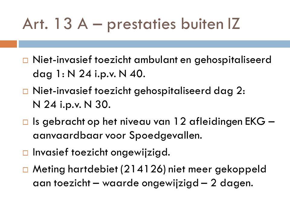 Art. 13 A – prestaties buiten IZ
