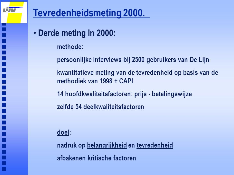 Tevredenheidsmeting 2000. Derde meting in 2000: methode: