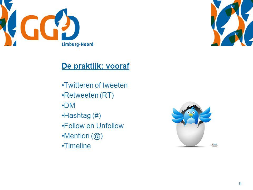 De praktijk; vooraf Twitteren of tweeten Retweeten (RT) DM Hashtag (#)