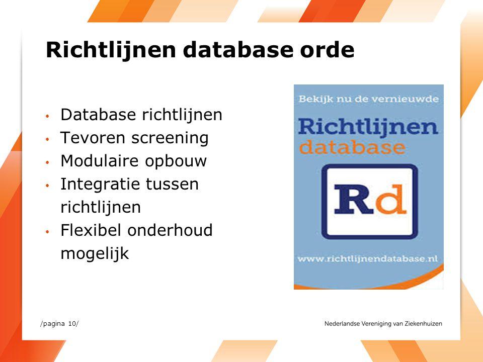 Richtlijnen database orde