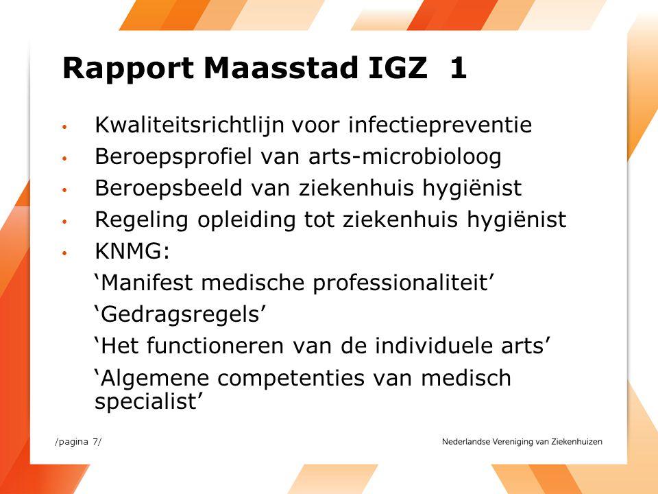 Rapport Maasstad IGZ 1 Kwaliteitsrichtlijn voor infectiepreventie