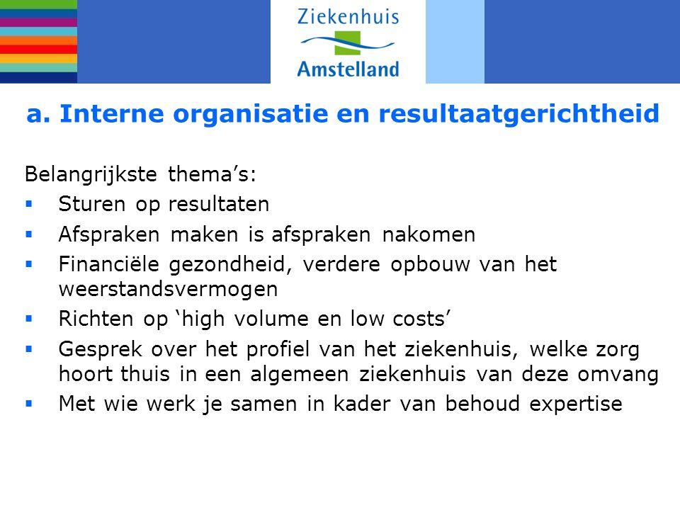 a. Interne organisatie en resultaatgerichtheid