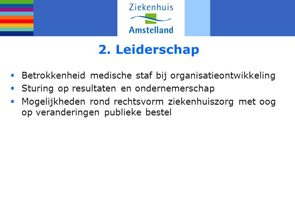 2. Leiderschap Betrokkenheid medische staf bij organisatieontwikkeling